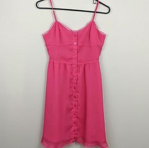 Kirra Babydoll Button Up Lace Trim Dress
